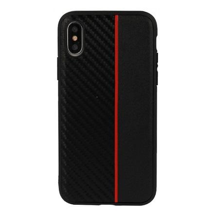 "Pouzdro Moto Carbon iPhone XS MAX (6,5""), barva černá/červená"