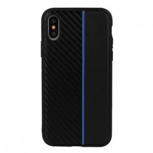 "Pouzdro Moto Carbon iPhone XS MAX (6,5""), barva černá/modrá"