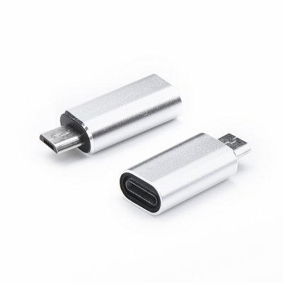 Redukce iPhone 5, 5S, 6, 6S, 7, 7P, 8, 8P, X / micro USB barva stříbrná