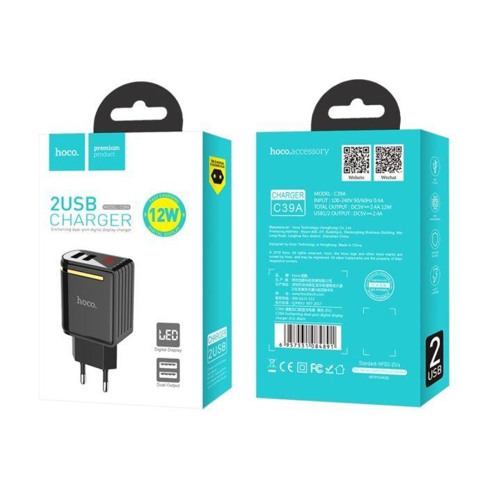 Cestovní nabíječ HOCO C39A 2xUSB LED Digital Display 2.4A černá