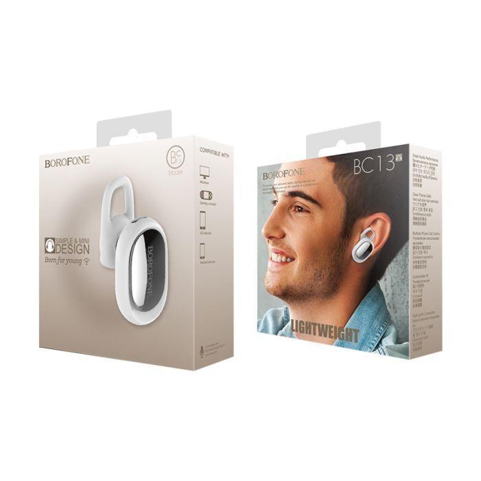 Bluetooth headset BOROFONE FreeTalk BC13 barva bílá