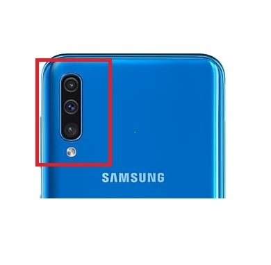 Sklíčko zadní kamery Samsung A50, A70 Galaxy A505, A705 barva modrá