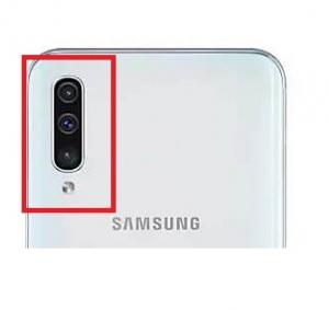 Sklíčko zadní kamery Samsung A50, A70 Galaxy A505, A705 barva stříbrná