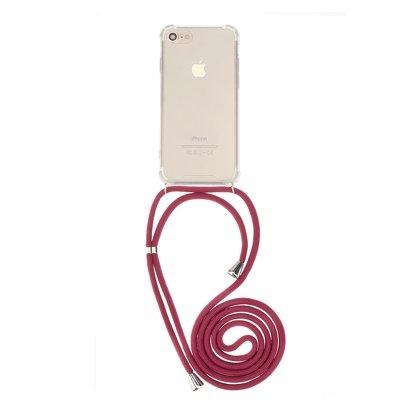 Pouzdro Forcell CORD Xiaomi Redmi Note 7, barva transparent + červená šňůrka