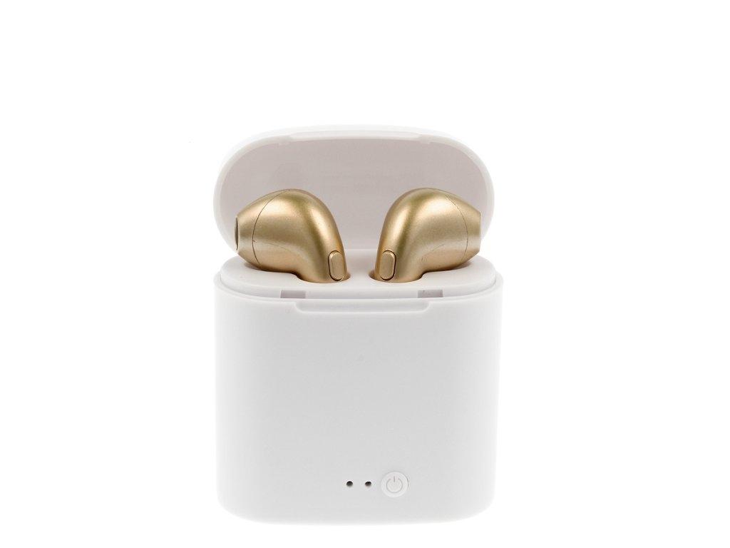 Bluetooth headset TWS i7S barva zlatá