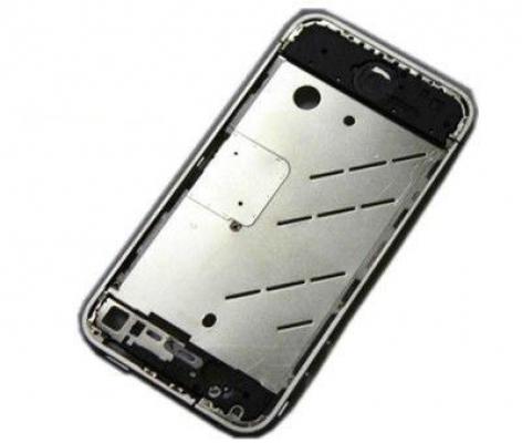 Střední díl iPhone 4, neosazený, kov, stříbrný
