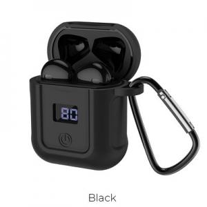 Bluetooth headset HOCO S11 barva černá + černé pouzdro + lightning USB kabel + karabina