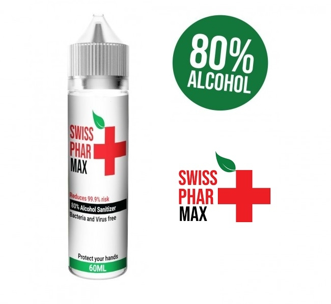 Hand Sanitizer Swiss PharMax - Antibakteriální roztok 60ml (80% alkohol)