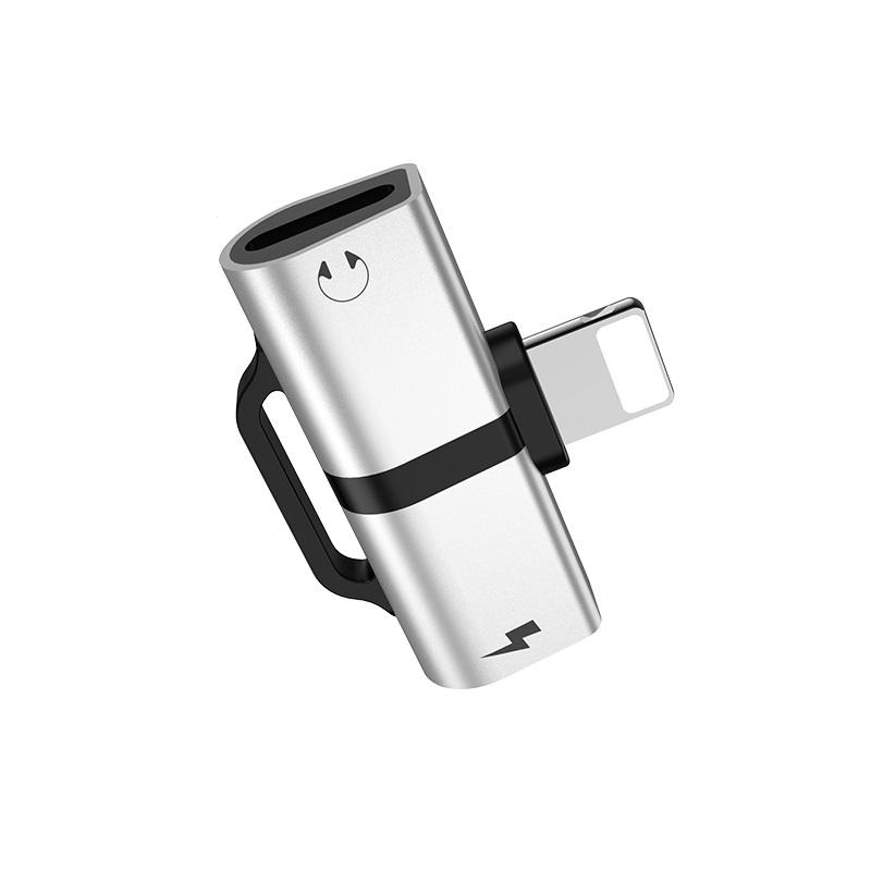 HOCO LS 20 Adaptér SHORT HF/audio + nabíjení iPhone Lightning barva stříbrná
