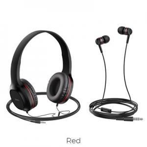 Sluchátka + HandsFree HOCO W24 barva černá/červená