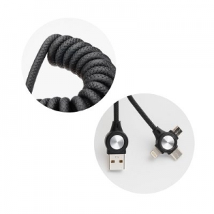 Datový kabel 3v1, Micro USB, Micro USB Typ C, Lightning, barva černá spirála