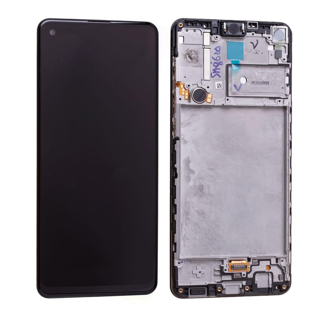 Dotyková deska Samsung A217F Galaxy A21S + LCD + rámeček black Service Pack - originál