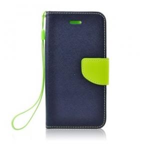 Pouzdro FANCY Diary iPhone 12 Mini (5,4) barva modrá/limetka