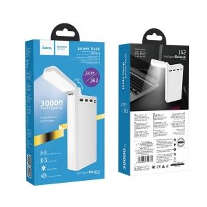 POWER Bank HOCO J62 - 30000mAh, LED Lampa, 3xUSB, barva bílá