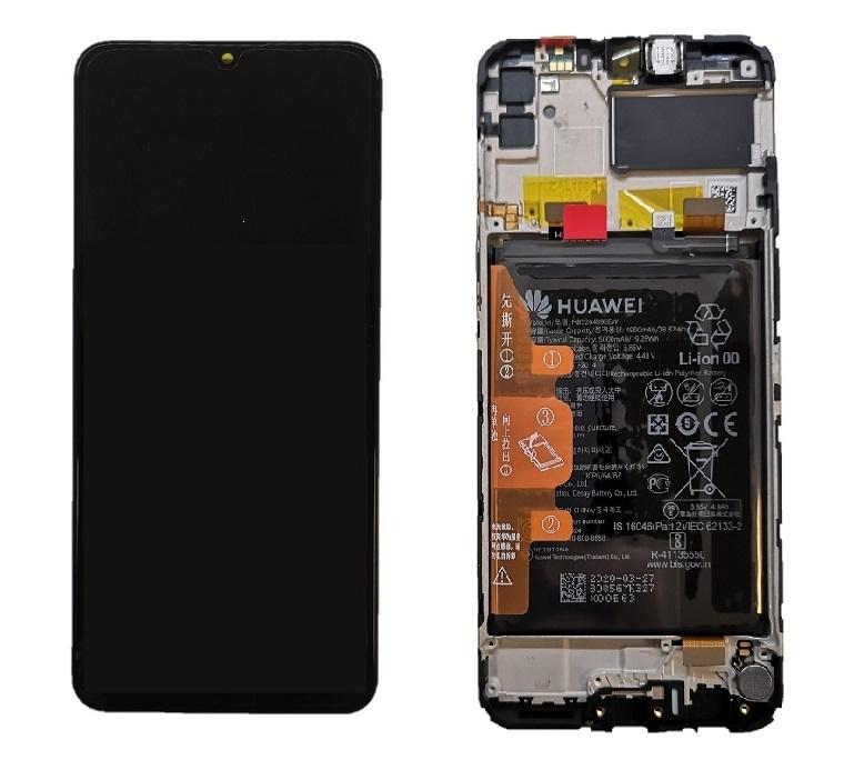 Dotyková deska Huawei Y6p, HONOR 9A + LCD s rámečkem černá (SERVICE PACK)