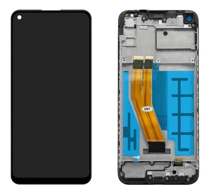 Dotyková deska Samsung M115 Galaxy M11 + LCD + rámeček black Service Pack - originál