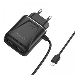 Cestovní nabíječ Borofone BA50A, 2xUSB 2,1A Lightning kabel, barva černá
