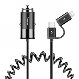Auto nabíječ Baseus 1xUSB 2,4A +  kabel 2v1 - Micro USB Typ C, Lightning