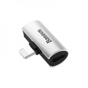 Adaptér SHORT BASEUS HF/audio + nabíjení iPhone Lightning barva stříbrná