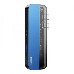 Multifunkční adaptér HUB typu C, Baseus CAHUB-TS03, barva modrá