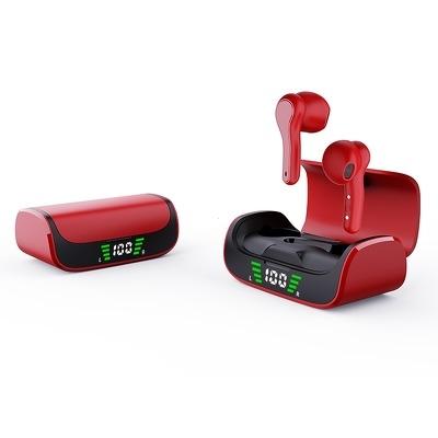Bluetooth headset QUOA K28, TWS s nabíjecím pouzdrem, barva červená