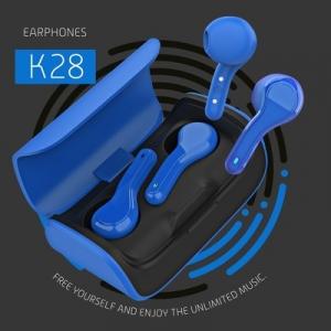 Bluetooth headset QUOA K28, TWS s nabíjecím pouzdrem, barva modrá