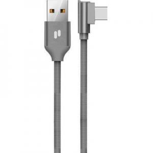 Datový kabel Puridea L23 micro USB Typ C 2,4A, QC, 90° koncovka, barva šedá