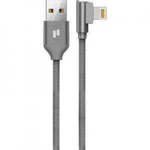 Datový kabel Puridea L23 Lightning konektor 2,4A, QC, 90° koncovka, barva šedá