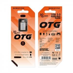 Micro USB adaptér pro USB OTG BOROFONE barva stříbrná