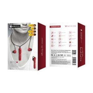 Bluetooth headset BOROFONE BE10, Bluetooth + HF, barva červená