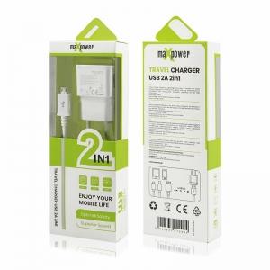 Cestovní nabíječ MaxPower micro USB 2A + kabel, 2v1 barva bílá
