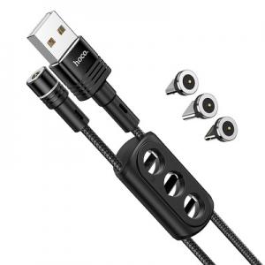 Datový kabel HOCO U98, 3v1 magnetický, barva černá  (Micro USB, Typ C, Lightning)