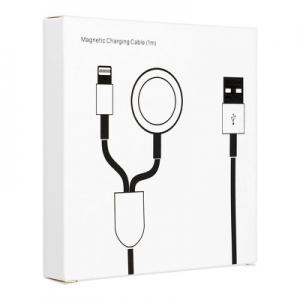 Datový kabel iPhone 2v1, lightning konektor + Apple watch 3W, 1A, barva bílá