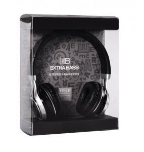 Sluchátka Extra Bass EP16 s mikrofonem, 3,5mm jack, barva černá