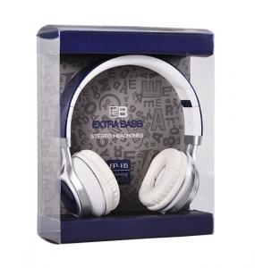 Sluchátka Extra Bass EP16 s mikrofonem, 3,5mm jack, barva modrá