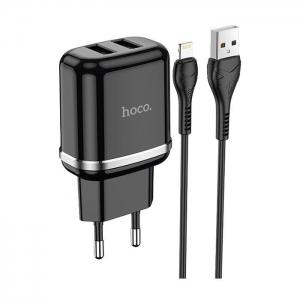 Cestovní nabíječ HOCO N4 Aspiring 2x USB 2,4A + kabel Lightning, černá