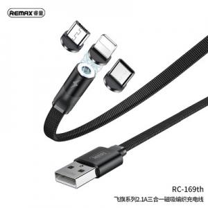Datový kabel Magnetický 3v1, Remax RC-169th, Micro USB, USB Typ C, Lightning, 2,1A barva černá