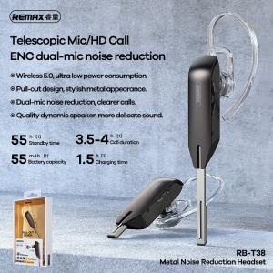 Bluetooth headset REMAX metal RB-T38 s redukcí šumu, barva černá