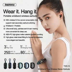 Bluetooth headset Remax TWS-15, barva modrá