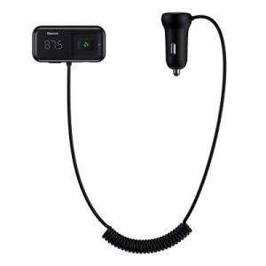 Transmitér FM Bluetooth Baseus (CCTM-E01) 2X USB 2,1A, AUX, Pilot, barva černá