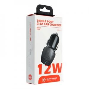CL adaptér Carbon USB 2,4A  12W, barva černá