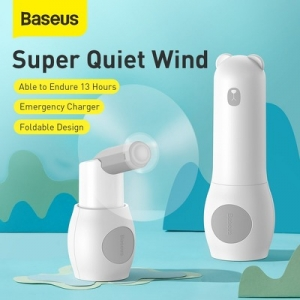Baseus Tricolor bear 2v1, větráček a power bank 2000mAh, barva bílá