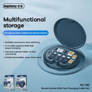 Datový kabel 3v1 Remax RC-190 Wanbo QC 60W, s boxem a stojánkem, barva modrá