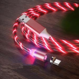 Datový kabel X-CABLE svítící 3v1 (lightning, micro USB, TYP-C) barva červená