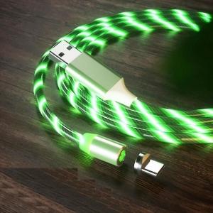 Datový kabel X-CABLE svítící 3v1 (lightning, micro USB, TYP-C) barva zelená