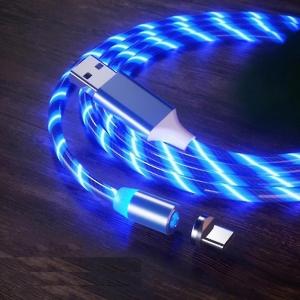 Datový kabel X-CABLE svítící 3v1 (lightning, micro USB, TYP-C) barva modrá