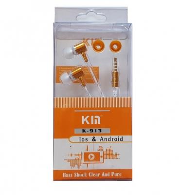 Hands Free KIN K-913 Super Bass 3,5 mm jack, barva oranžová
