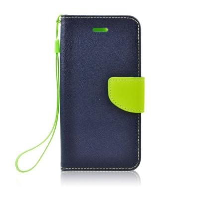 Pouzdro FANCY Diary TelOne iPhone X, XS (5,8) barva modrá/limetka