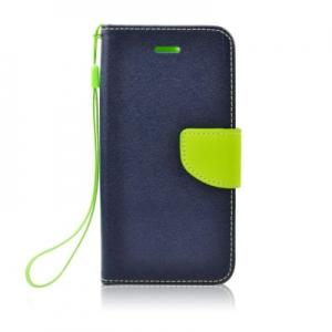 Pouzdro FANCY Diary iPhone X, XS (5,8) barva modrá/limetka