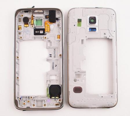 Samsung G800 Galaxy S5 mini kryt střední - osazený stříbrná